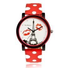 Для женщин Часы бренда Dot кожа Бретели для нижнего белья Часы Эйфелева башня циферблат сделать модные Хики часы Sweety Кристалл наручные Часы Womage 1925743616