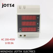 Din-рейку двойной светодиодный дисплей Напряжение и измеритель тока din-рейку Вольтметр Амперметр диапазон AC 200-450 В 0.1 -99.9A No name 32448378500