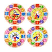 1 шт./компл. Vitoki 4 модели Пазлы цифровой деревянные часы животных мультфильм развивающие игрушки красочные геометрические фигуры распознавания игрушки No name 32873515212