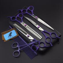 7 Professional комплект для ухода за шерстью домашних животных прямые и истончение ножницы изогнутые шт 4 шт., Фиолетовый прямой ручкой Freelander 32832816922