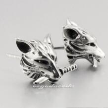 С изображением замечательного волка 316L Нержавеющаясталь мужские серьги-гвоздики G003 (2 шт.) LINSION 979023985