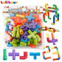 Креативные туннель из труб блоки пластик DIY сборка водопровода строительные блоки модель Обучающие игрушки для детей lolibear 32870886822