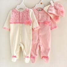 100% хлопок Кружево для новорожденных девочек Footie + Цветочный шляпа Мода младенческой цельный комбинезон No name 32605711703