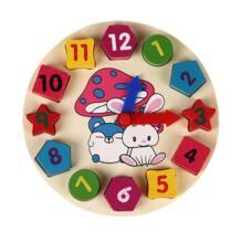 Деревянные часы детские игрушки 12 Количество красочных Цифровой Геометрия часы детские развивающие Цвета Форма детские, для малышей игрушки подарки 4 стиля No name 32853933698