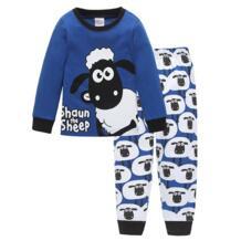 Комплекты детских пижам с милой овечкой детская одежда для сна Футболка с рукавами + брюки Одежда для мальчиков Пижама для маленьких детей модные топы + штаны PUCKISH BABY 32854630063