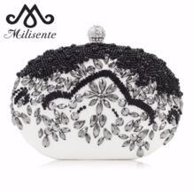 маленькие сумки для женщин ручной работы из бисера сумка с кристаллами черный белый овальный дизайн женский клатч бриллианты Hasp женская сумочка Milisente 32726625823