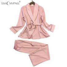 длинный стиль мягкие дышащие женские пижамы искусственный шелк повседневные женские пижамные комплекты двойка Женская домашняя одежда lisacmvpnel 32792152755