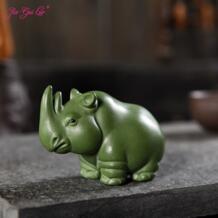 JIA-GUI LUO зеленый грязи Чай животное фиолетовый глины носорог скульптура мило Чай поднос декоративный Чай аксессуары N007 No name 32870866231