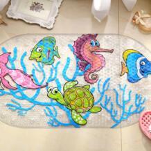 Мультфильм Противоскользящий ПВХ коврик для ванной с присосками морской мир черепаха ковер с изображением рыбок используется для ванной комнаты WONZOM 32573223760