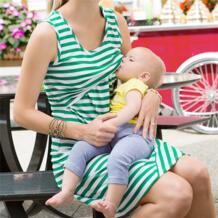Леди Костюмы одежда Для женщин Средства ухода за кожей для будущих мам Baby Дети ребенок кормящих грудью беременных платье без рукавов в полоску Платья для женщин No name 32829496234