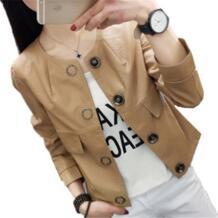 2019 Демисезонный Для женщин кожа пиджак с длинными рукавами из искусственной кожи пальто из искусственной кожи короткие кожаная куртка Верхняя одежда Топы A25 TNLNZHYN 32818626299