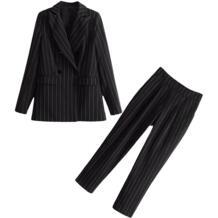 Комплект женский 2018 весна и осень Новый стиль Темперамент маленький ладан ветер полосатый костюм куртка + девять повседневные брюки два комплекта Low Luv 32860361491