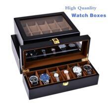 Оптовая продажа черный кожаный ящик для часов деревянные часы чехол для хранения коробка Роскошный посылка женские ювелирные изделия подарок Дисплей Чехол W28-38-46 SAIKE 32840356311