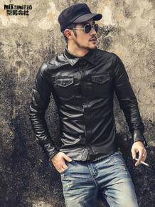 Новый Для мужчин Костюмы Повседневное Slim Fit Для мужчин длинные рукава Кожа рубашка мотоциклетная куртка Для мужчин платье рубашка Длинные рукава chemise homme S509 MIXLIMITED 32719611478