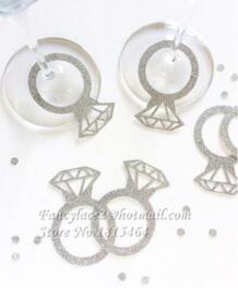 50 шт. блестящее бриллиантовое стеклянное кольцо винный маркер напитков Именные Бирки амулеты Свадебная вечеринка мальчишник, девичник салфетка для стола карты Fancylace 32807299634