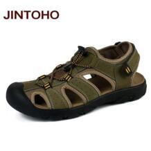 Jintoho/плюс Размеры мужские сандалии Пояса из натуральной кожи модные Для мужчин Шлёпанцы для женщин мужские сандалии водонепроницаемая обувь для воды No name 32673001497