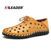 Aleader ручной работы Мужские кожаные туфли повседневные Лоферы Летняя обувь сезона 2016 г. для мужчин на плоской подошве дышащие слипоны обувь для вождения мокасины No name 32686224744
