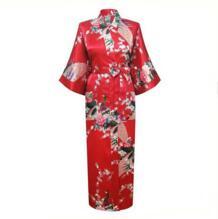 Красный китайский Для женщин Silk район халаты длинные сексуальные ночные рубашки кимоно юката Ванна платье пижамы pijama feminino Плюс Размеры XXXL NR060 No name 32424119142