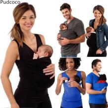 Для женщин Для мужчин хлопковая Футболка Платье с карманом спереди родителей Топы Рюкзаки-кенгуру одежда Эби pudcoco 32914950636