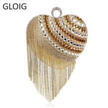 В форме сердца кисточкой Для женщин Курьерские сумки палец кольцо бриллиантами маленький кошелек Ежедневные клатчи handbgas для вечеринки Свадебные SEKUSA 32706871249