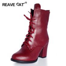 /большие размеры 32-48, Новые осенне-зимние ботильоны женские ботинки, женские ботинки на высоком каблуке, на платформе, со шнуровкой, с блестками, теплые, классные REAVE CAT 32410322468