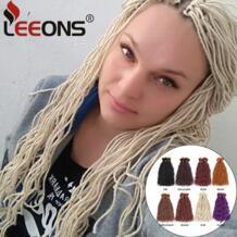 Leeons Моноволокно плетение дреды волос фиолетовый вязаный крючком волос 15strands/шт Синтетический вязаный крючком косу волосы для Для женщин No name 32898158081