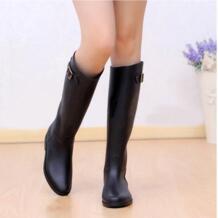 Демисезонный новинки для женщин Модные непромокаемые сапоги до колена черные резиновые сапоги обувь непромокаемые Wellies 5 размеров No name 1570054782