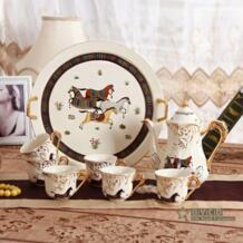 Фарфоровый чайный набор фарфор слоновой кости Бог лошади дизайн контур в золото 8 шт. чайные сервизы китайский чашки набор с подносом чайник чаем No name 2051915648