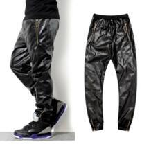 2019 Популярные высококачественные штаны из искусственной кожи в стиле хип-хоп мужские повседневные и простые черные брюки из искусственной кожи аллигатора Raise Trust 1888206730