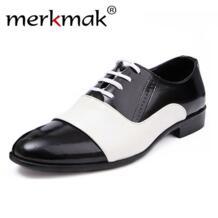 Новинка 2018 года; сезон весна-осень; модная мужская обувь из лакированной кожи; Мужские модельные туфли; цвет белый, черный; мужские туфли-оксфорды из мягкой кожи для свадебной вечеринки merkmak 32542559141