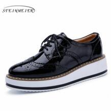 Новые женские винтажные туфли-оксфорды на шнуровке красные бежевые белые черные с металлически отливом полосатая платформа винтажные туфли-оксфорды на плоской подошве женская обувь размер США 8 steinmeier 32639289968