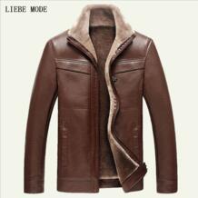 Кожаная куртка для мужчин зимние кашемировые куртки утолщение шерсть защита от ветра теплая овчины Pu овчины пальто чёрный; коричневый Jaket 3XL LIEBE MODE 32598712695