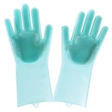 Волшебные силиконовые резиновые перчатки для мытья посуды Экологичная щетка для чистки скруббер для кухонной кровати для ухода за волосами No name 32921308358