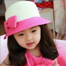 Детская мода двойной Цвет бантом Шляпы широкополые для женщин летние соломенные Шапки 9 Цвета Бесплатная доставка No name 32625552472