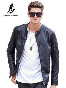 Пионерский лагерь мотоциклетные кожаные куртки для мужчин осень-весна кожа костюмы мужский повседневный пиджак и брендовая одежда 611310 Pioneer Camp 32718710387