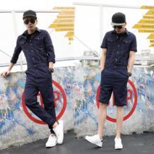 2019 новые мужские комплекты длинный комбинезон кампус комбинезоны разборные тонкие облегающие хип-хоп молодые Комбинезоны Юнион костюм LUOGEN 32826406875