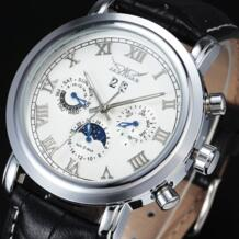Новый модный бренд автоматические механические Self-Wind Moonphase Авто Дата Полный календари циферблат кожаный ремешок для мужчин часы JARAGAR 32319137703
