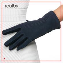 для женщин толстые перчатки зима Luvas de inverno Guantes Mujer Формальные Прихватки для мангала замшевые варежки элегантные теплые и мягкие Gants Femme REALBY 32756175036