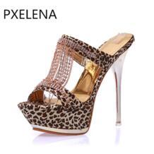 /2018 г. Новый Летний стиль пикантные женские Направляющие Rhinestone Высокий тонкий каблук на платформе и шпильке leopard Тапочки Обувь вечерние Дата PXELENA 32391008479