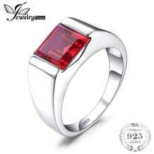 Украшения для мужчин СОЗДАН RUBY Обручение обручальное кольцо для Для мужчин квадратный Подлинная 925 Твердые стерлингового серебра Свадьба Gem JewelryPalace 32296585136