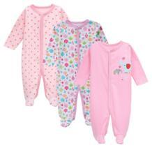 3 шт./компл. для маленьких девочек Footies Одежда для новорожденных с длинными рукавами 100% хлопок мультфильм детские Костюмы От 0 до 12 месяцев AGLDI No name 32844756755