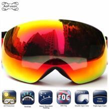 Большой Vision лыжные очки Sowboard двойные слои Анти-туман фотохромные линзы UV400 Лыжный Спорт маска очки Снегоход мотокросс очки AoFuson Wolf 32831524617