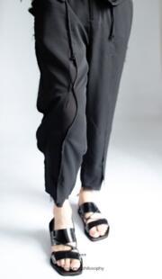 27-44 весной и летом тонкий стиль мужчины сломать отверстие повседневные штаны 9 Штаны прилив стиля стилист двойной мужской прогулки show одеть No name 32849915979