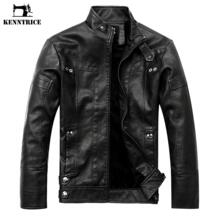 Лучшая Продажа Кожаная куртка для мужчин классические мужские пальто высокого качества брендовые мужские зимние куртки KENNTRICE 32814931798
