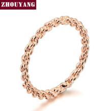 Одежда высшего качества ZYR127 золото выразительное кольцо розовое золото Цвет Австрийские кристаллы Полные размеры Оптовая ZHOUYANG 923705595