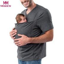 2019 горячий ремень для новорожденных кенгуру Футболка мужская многофункциональная футболка с короткими рукавами для папы детская футболка MUQGEW 32854016814