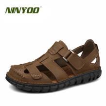 /High-end классические мужские сандалии Encase носком босоножки из натуральной кожи износостойкая резиновая ручной работы открытые летние пляжные Sandals44 NINYOO 32796766473