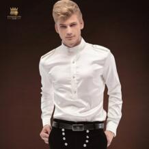 популярные бренды Костюмы 2018 осенью новый Для мужчин Мужская рубашка с длинным рукавом Белый Жених Свадебная вечеринка платье рубашка Для мужчин FANZHUAN 32879323915