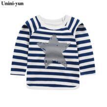 Летняя футболка хлопковая одежда для мальчиков повседневная детская одежда футболки с длинными рукавами для малышей Детская футболка футболки От 1 до 5 лет повезло детей Unini-yun 32847989765
