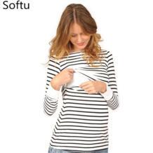 мам модные Беременность Одежда для беременных Топы/футболка Грудное вскармливание рубашка для кормления топы для беременных Для женщин Softu 32861399393